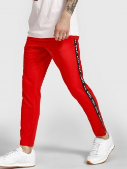 Garcon Slogan Print Side Tape Joggers