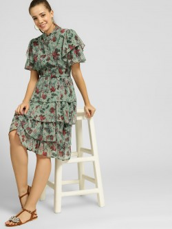 Closet Drama Floral Print Tiered Midi Dress