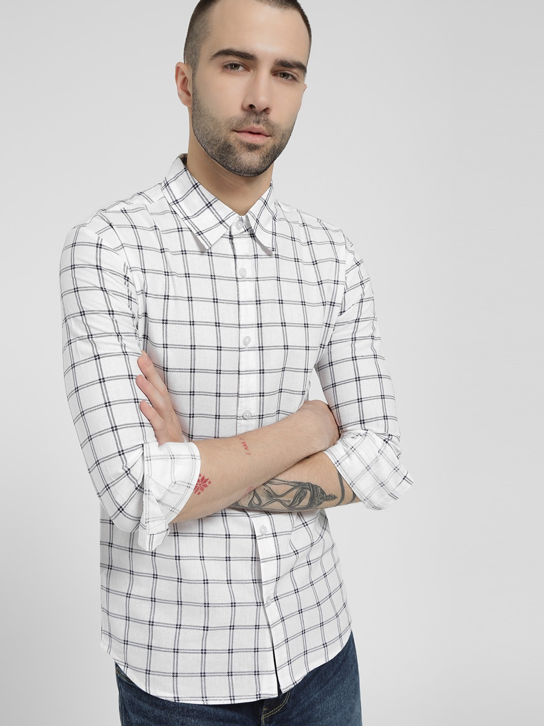 Fighting Fame White Double Stripe Grid Check Shirt 1