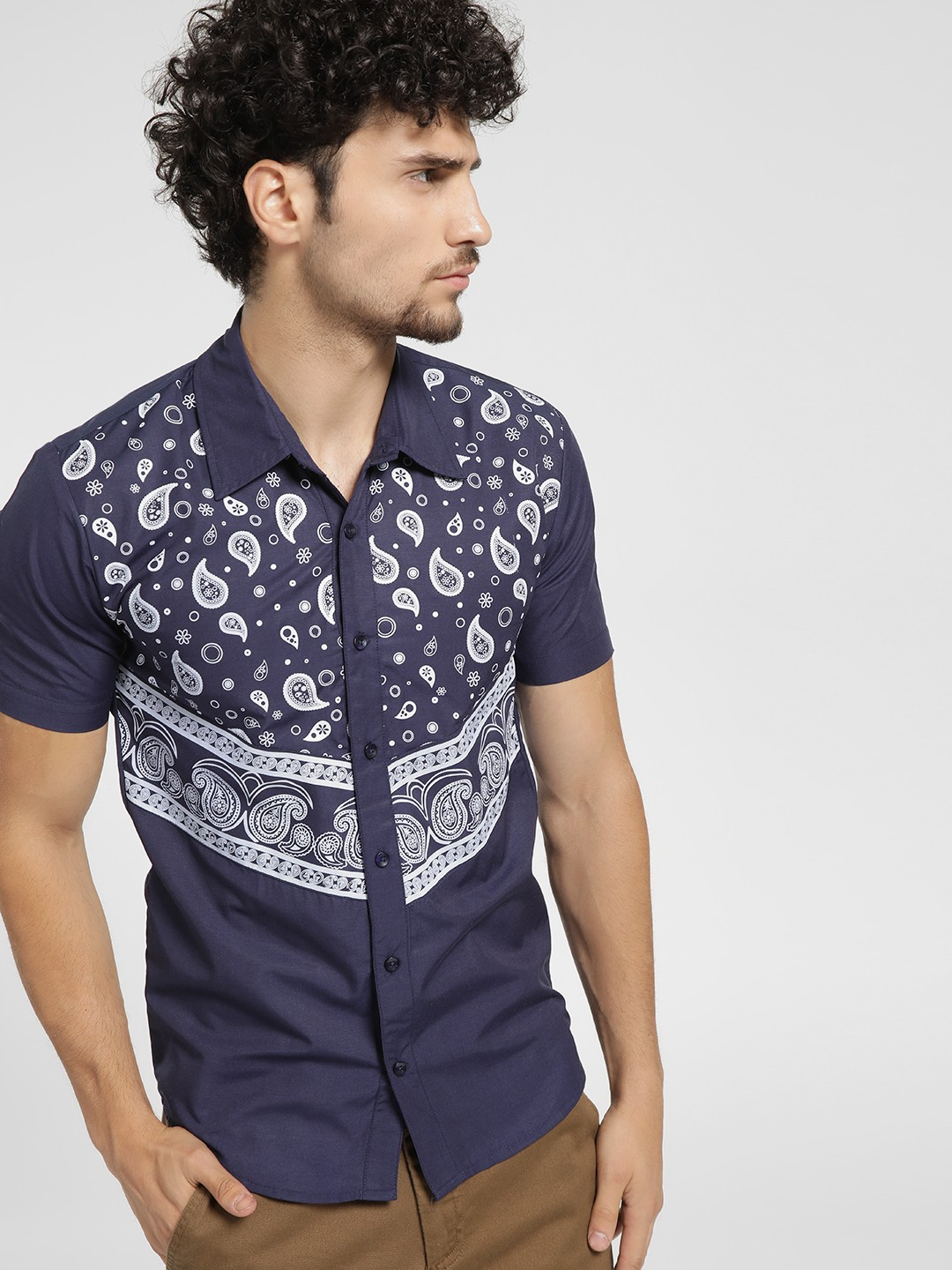 Fighting Fame Blue Paisley Print Short Sleeve Shirt 1