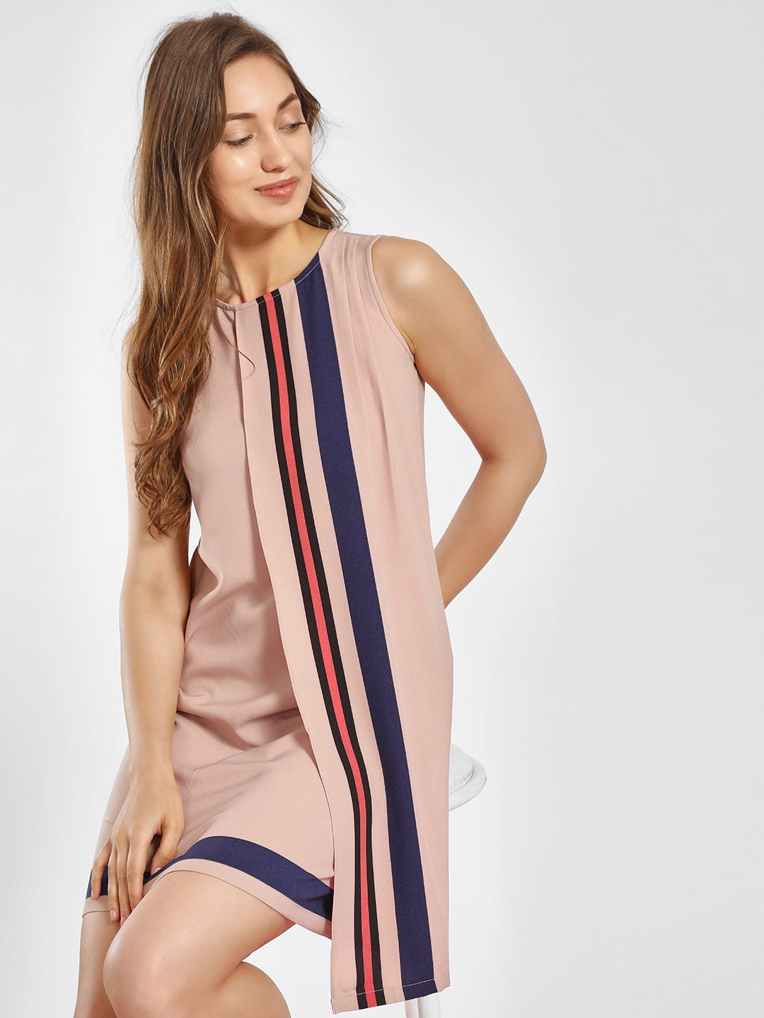 AND Pink Contrast Stripe Overlay Shift Dress 1