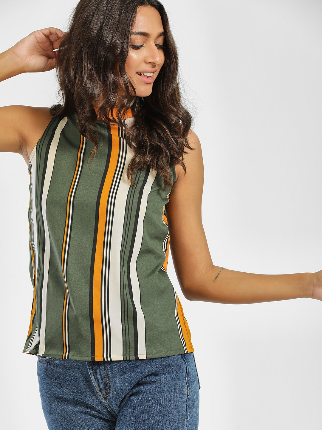 AND Green Striped Sleeveless Top 1