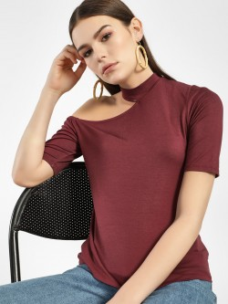 Femella Cut-Out Shoulder Choker Neck Top