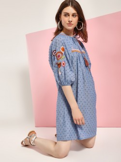 Rena Love Dobby Floral Embroidered Shift Dress