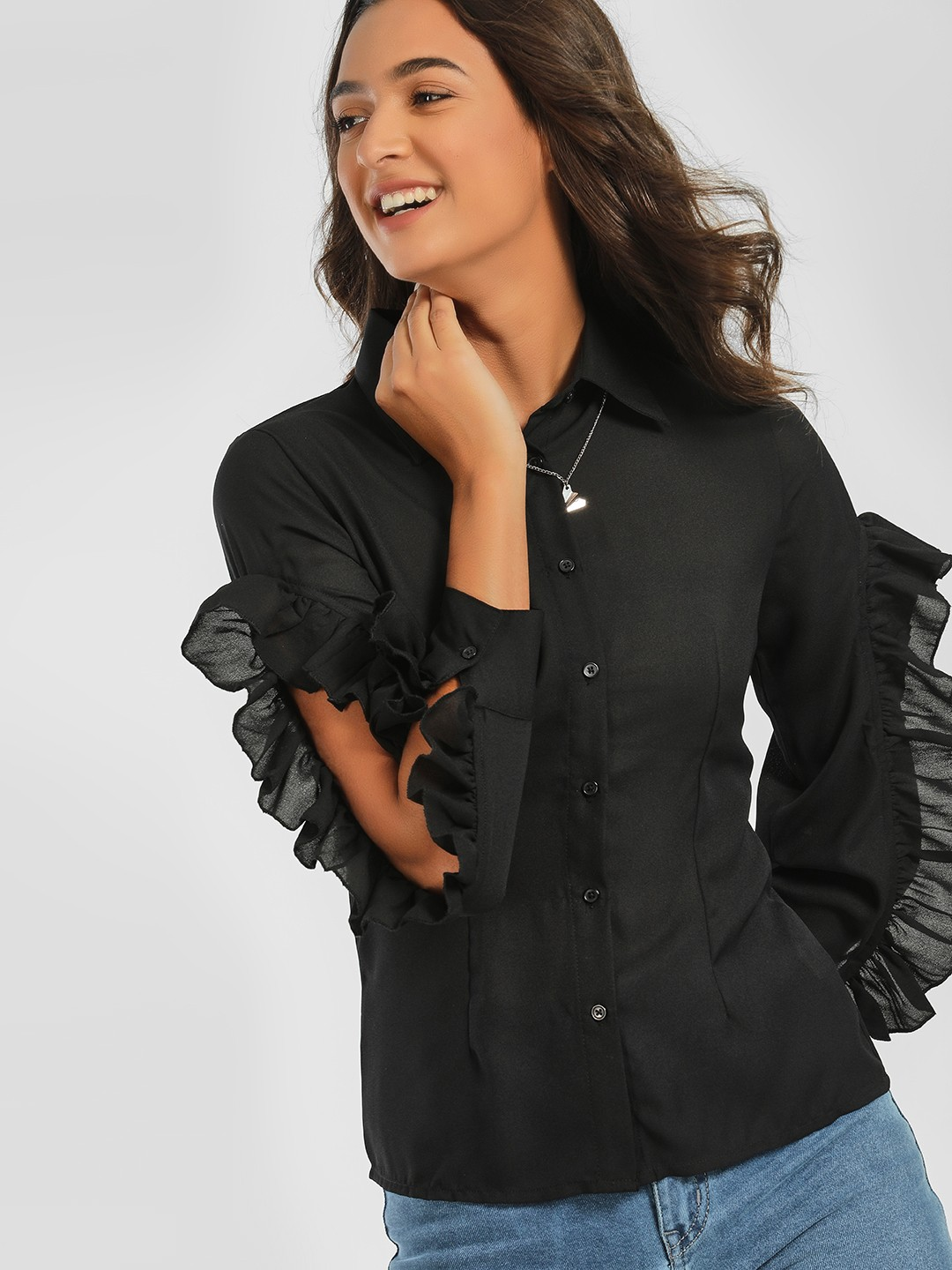 Ri-Dress Black Frilled Cutout Sleeve Shirt 1