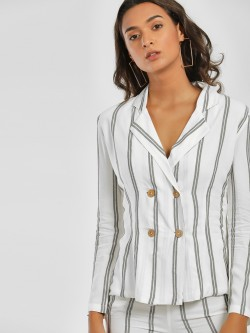 Ri-Dress Striped Double-Breasted Blazer