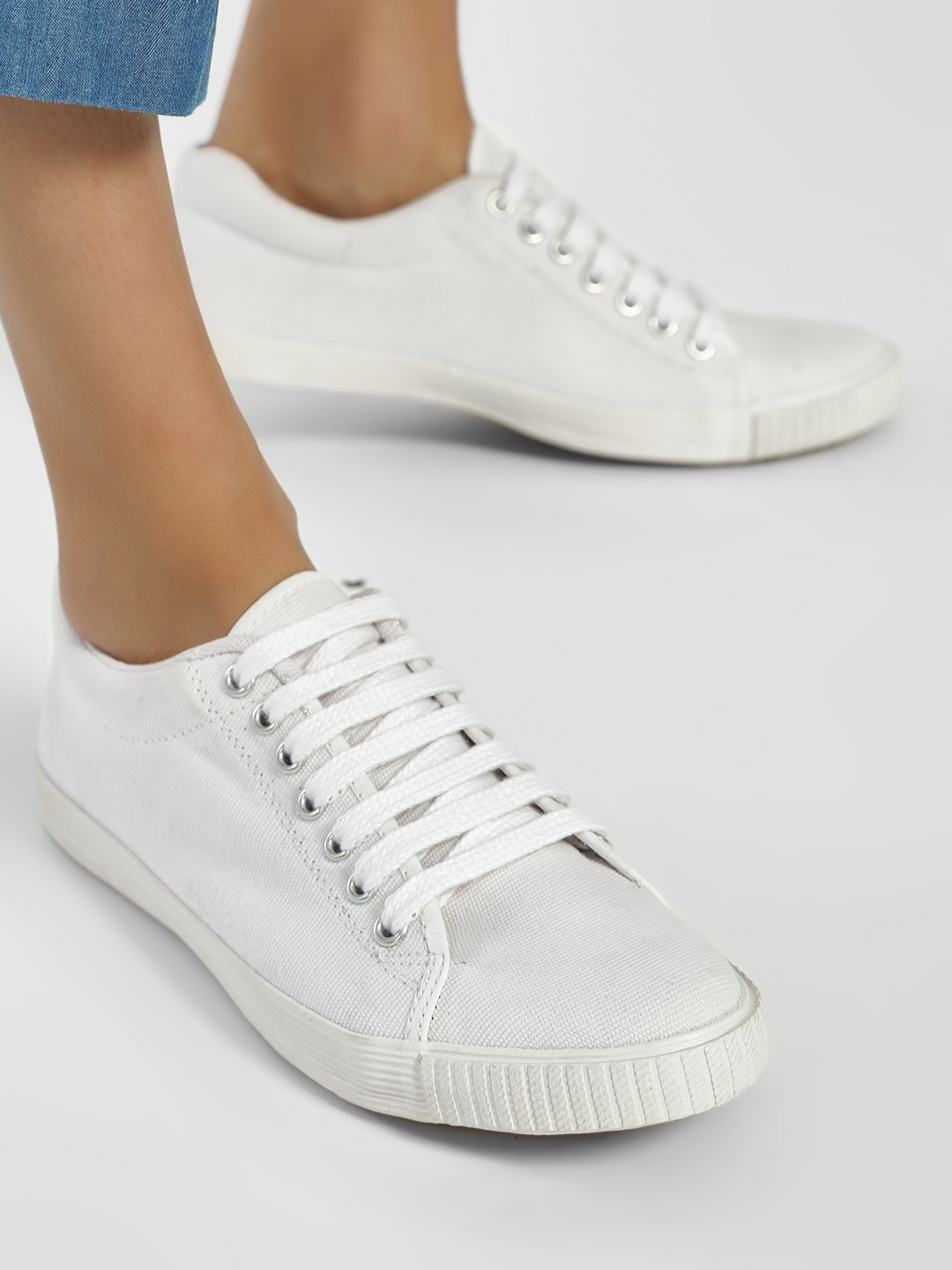 KOOVS White Basic Lace Up Sneakers 1