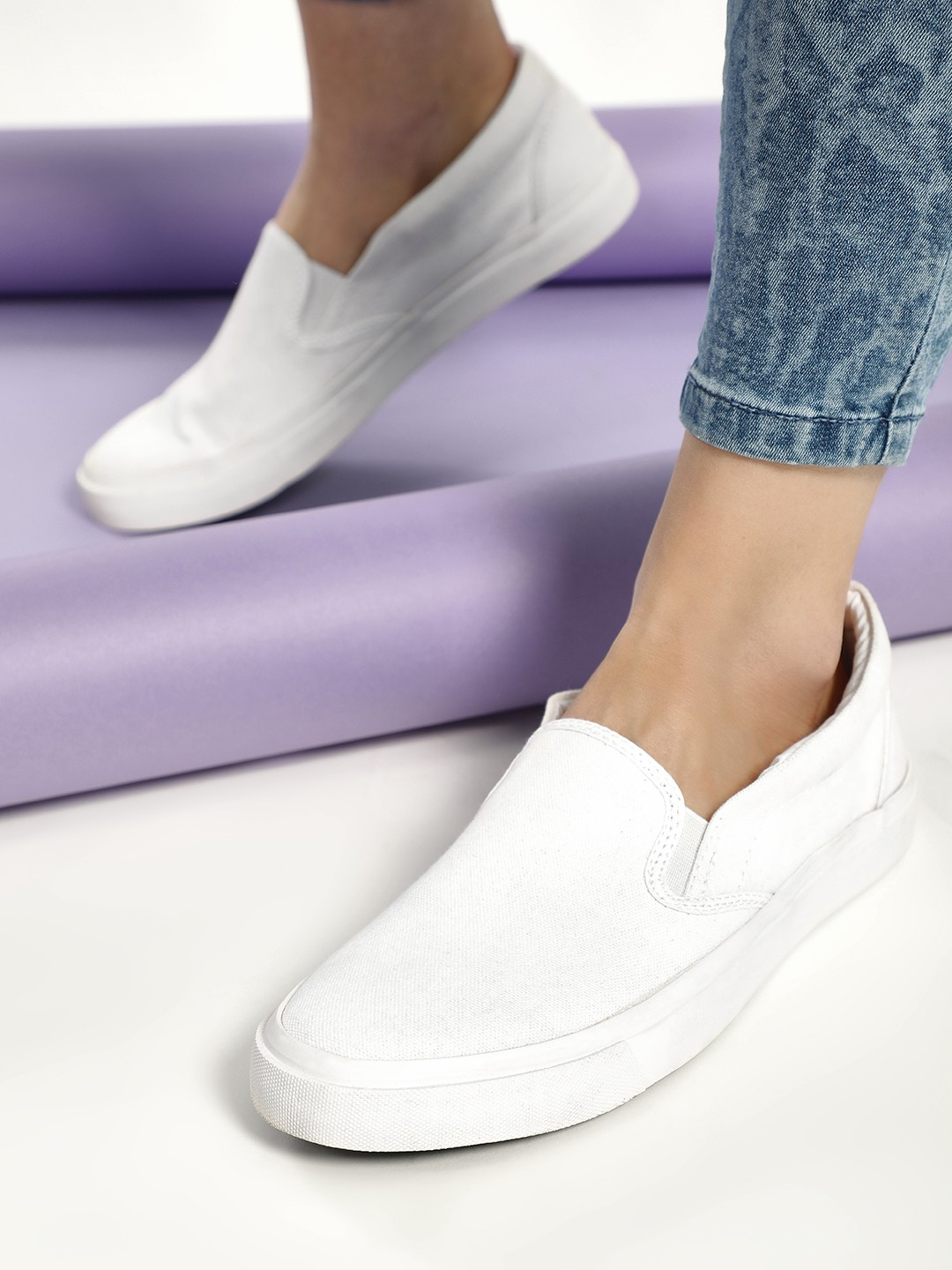 KOOVS White Slip-On Gusset Plimsoll Shoes 1