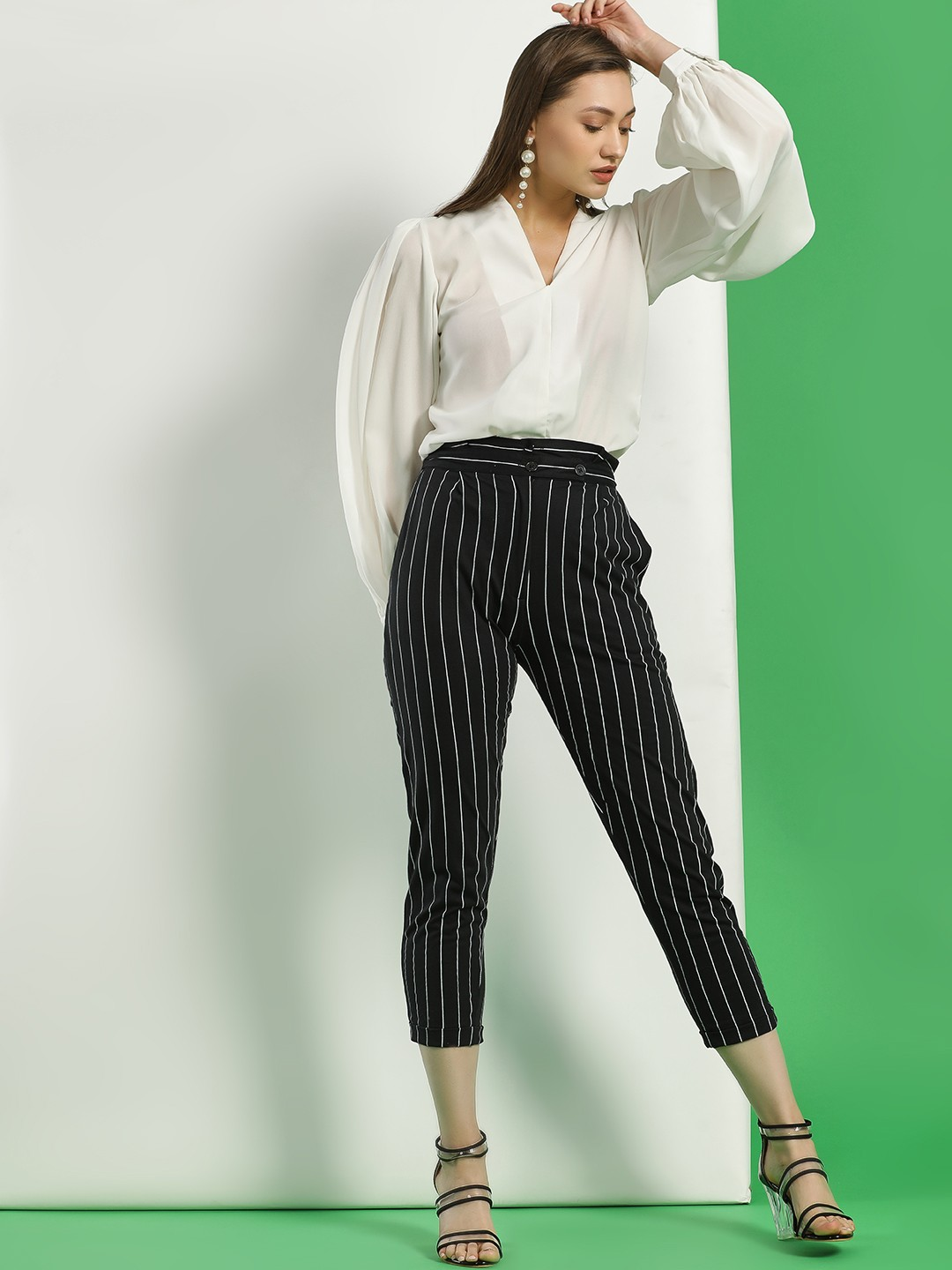 Spring Break Black Striped Paperbag Waist Cropped Trousers 1