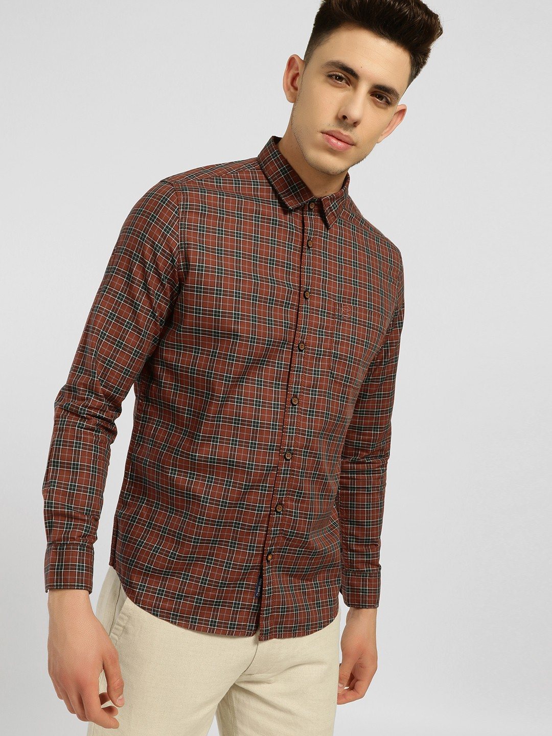 SCULLERS Green Plaid Check Casual Shirt 1