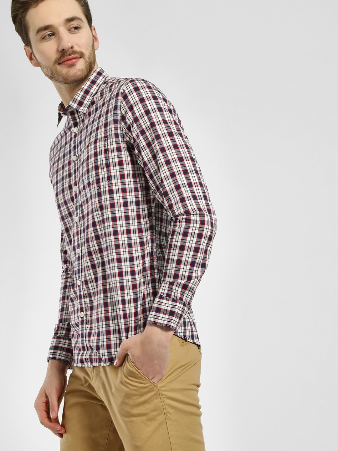 SCULLERS Blue Plaid Check Slim Fit Casual Shirt 1