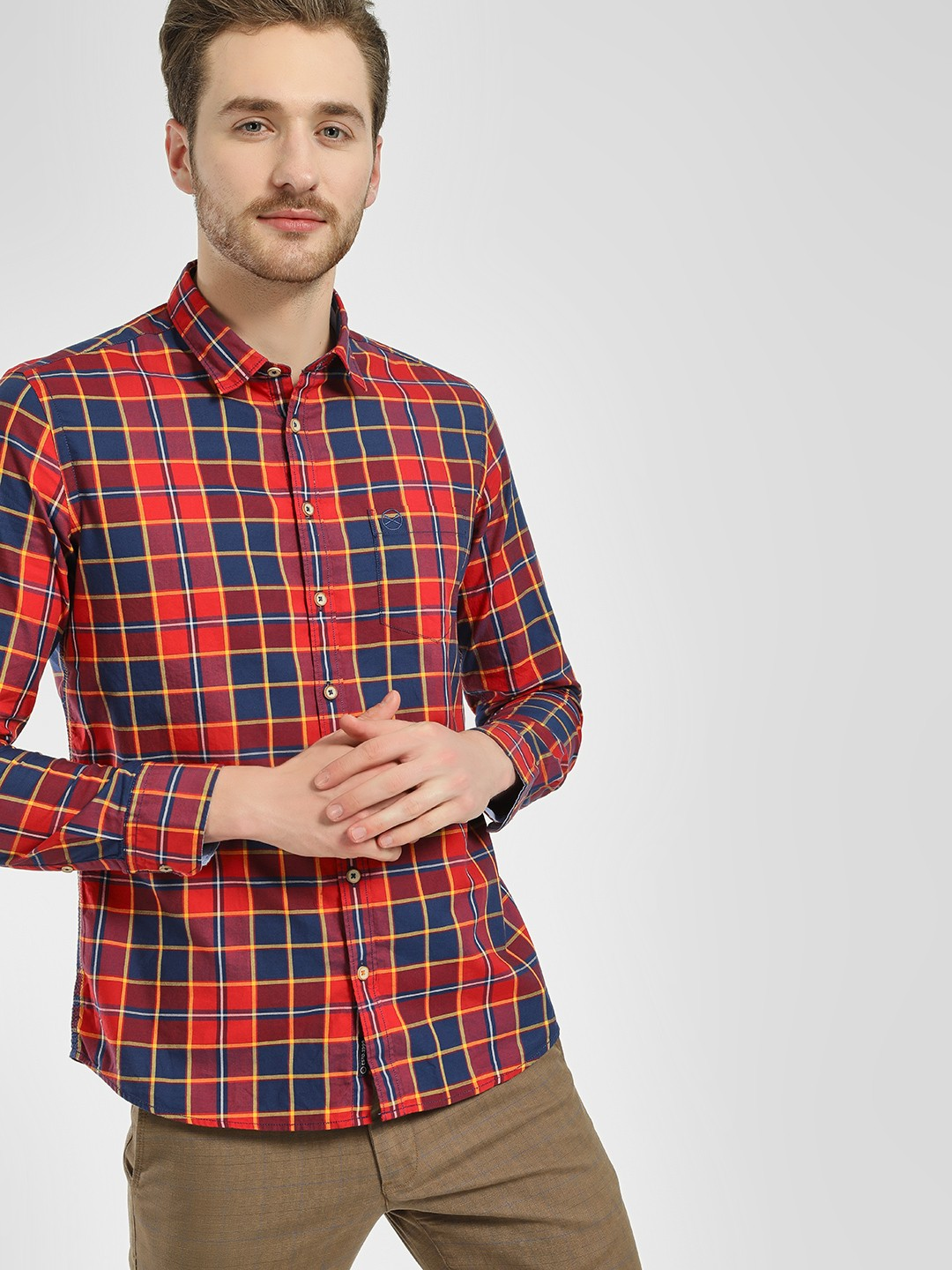 SCULLERS Red Madras Check Casual Shirt 1