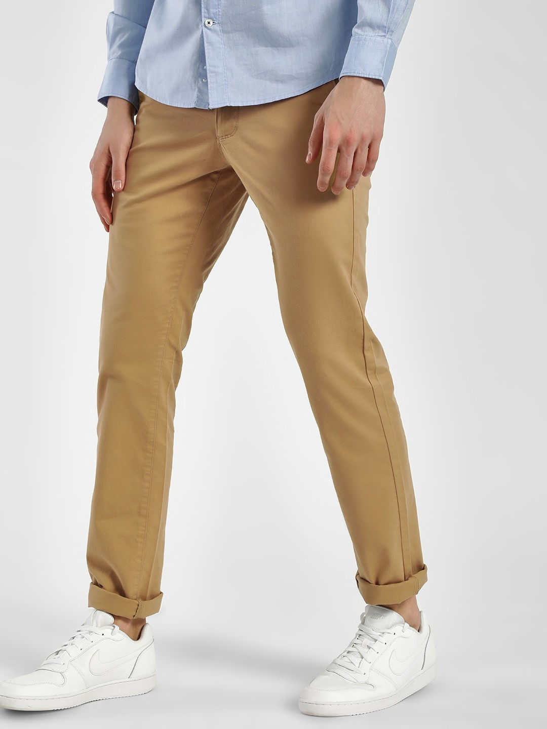 SCULLERS Brown Basic Slim Fit Trousers 1