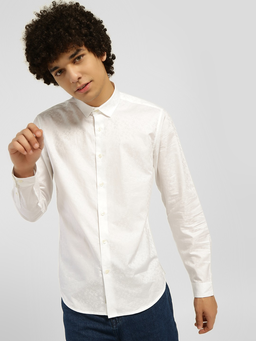 Indigo Nation White Jacquard Satin Casual Shirt 1