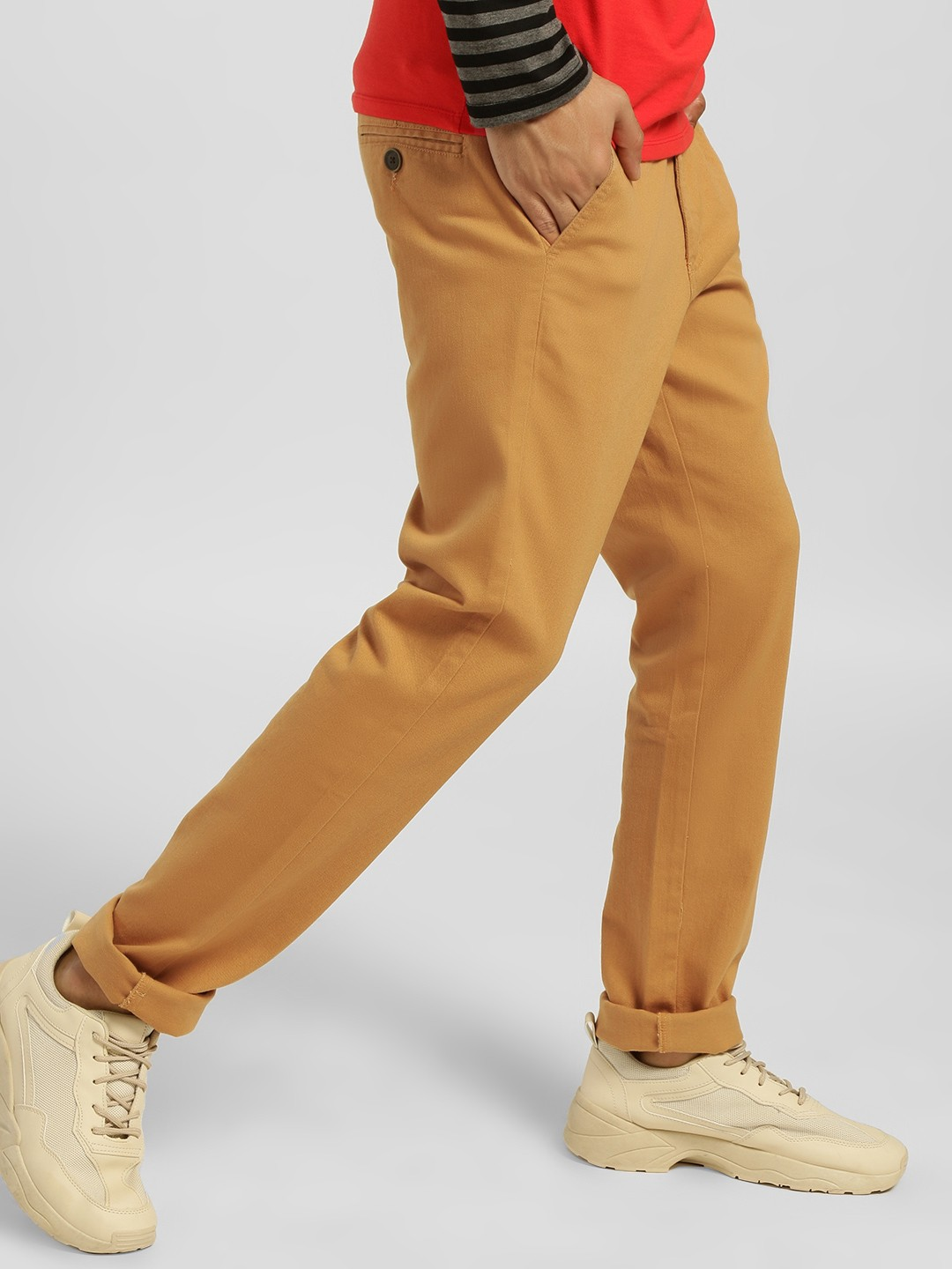 Indigo Nation Brown Basic Slim Fit Trousers 1