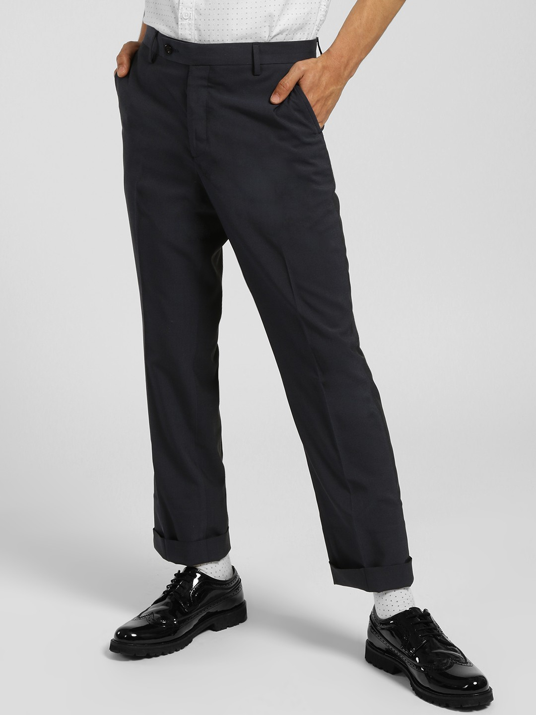 Indigo Nation Blue Slim Fit Formal Trousers 1