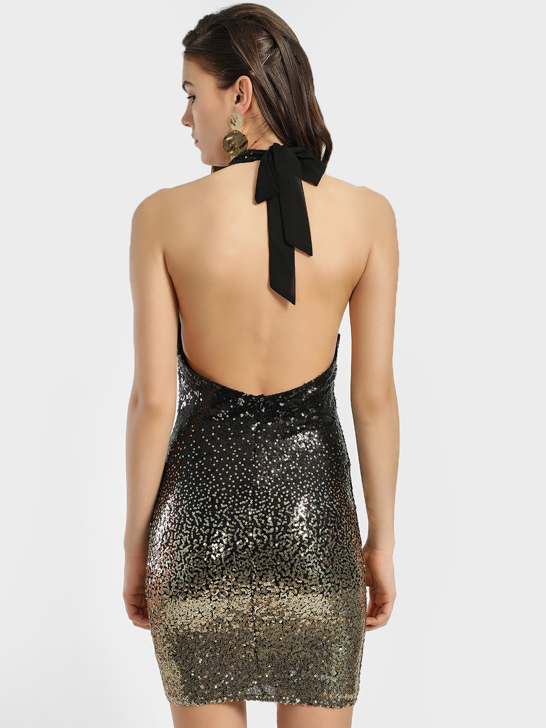 Black and gold sequin ombre bodycon dress like venus