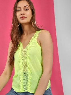 Moguland Crochet Lace Trim Sleeveless Blouse