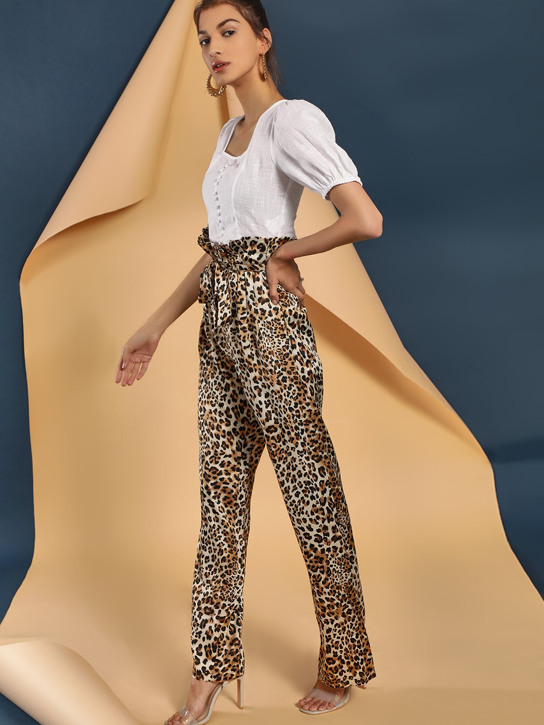 Lola May Multi Leopard Print High Waist Paperbag Trousers 1