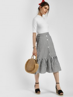 JJ's Fairyland Stripe Button-Front Midi Skirt