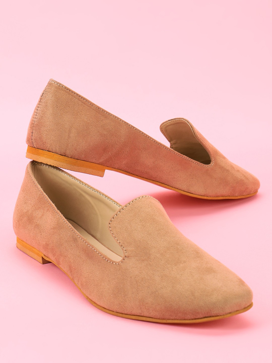 KOOVS Tan Basic Suede Loafers 1