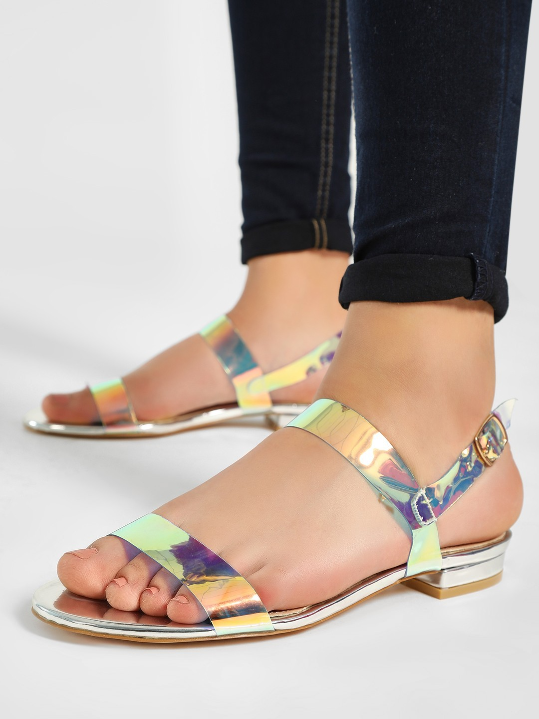 My Foot Couture Multi Holographic Transparent Strap Flat Sandals 1