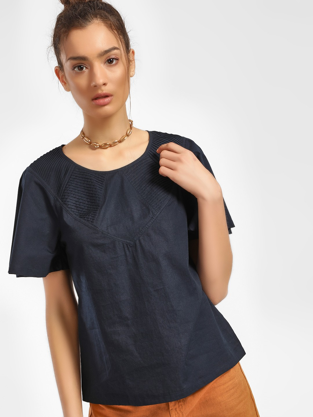 PostFold Navy Pintuck Yoke Flared Sleeve Blouse 1