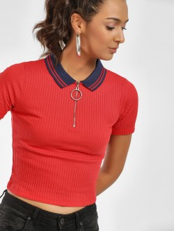 KOOVS Ribbed Zip-Up Crop Polo T-Shirt