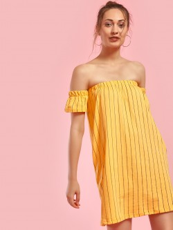 Spring Break Striped Mini Off-Shoulder Dress