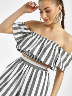 Spring Break Stripe Crop Off-Shoulder Top