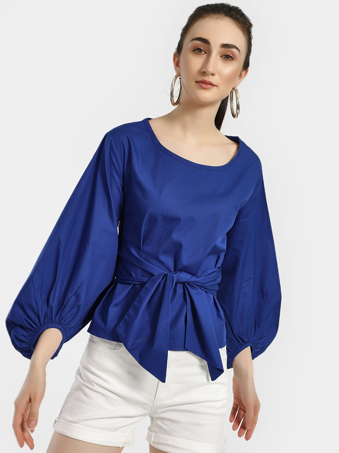 Spring Break Blue Front Tie-Knot Volume Sleeve Blouse 1