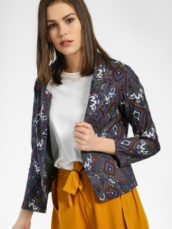 Spring Break Batik Print Cropped Blazer