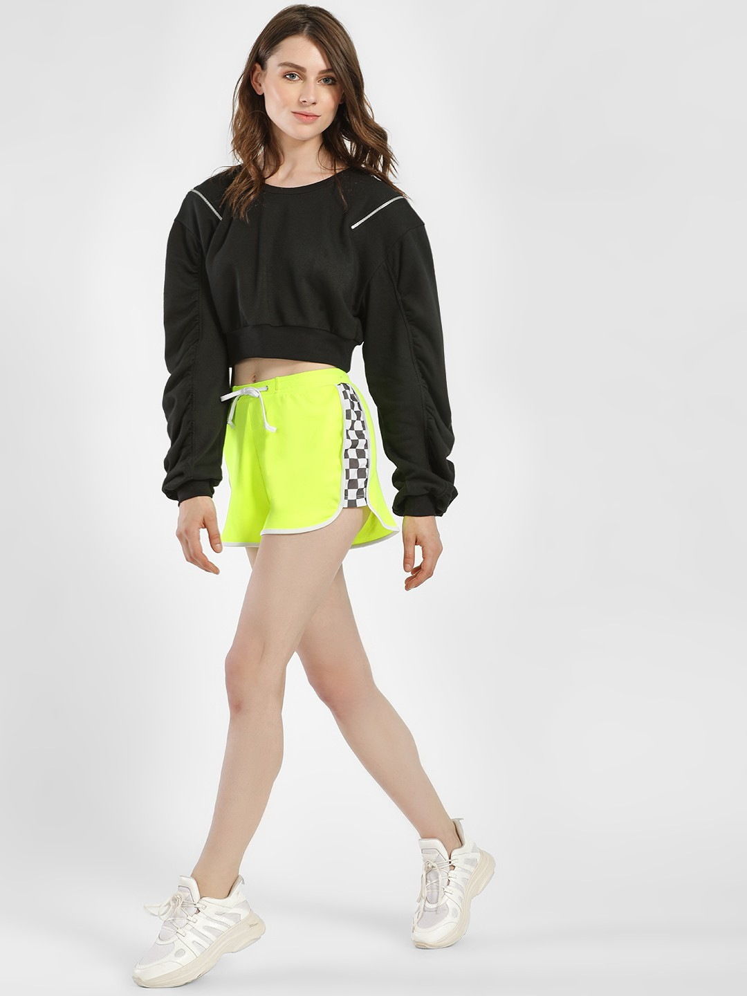 KOOVS Green Contrast Check Side Tape Shorts 1