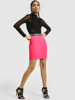 KOOVS Queen Print Pencil Mini Skirt