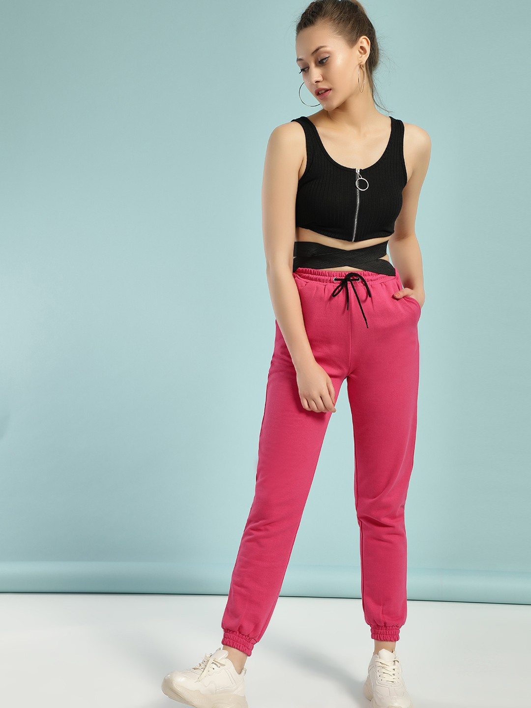 KOOVS Pink Contrast Cross Band Joggers 1