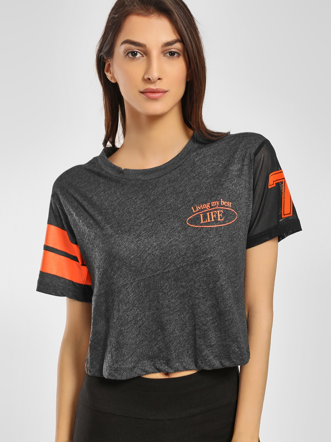KOOVS Grey Slogan Print Crop T-Shirt 1
