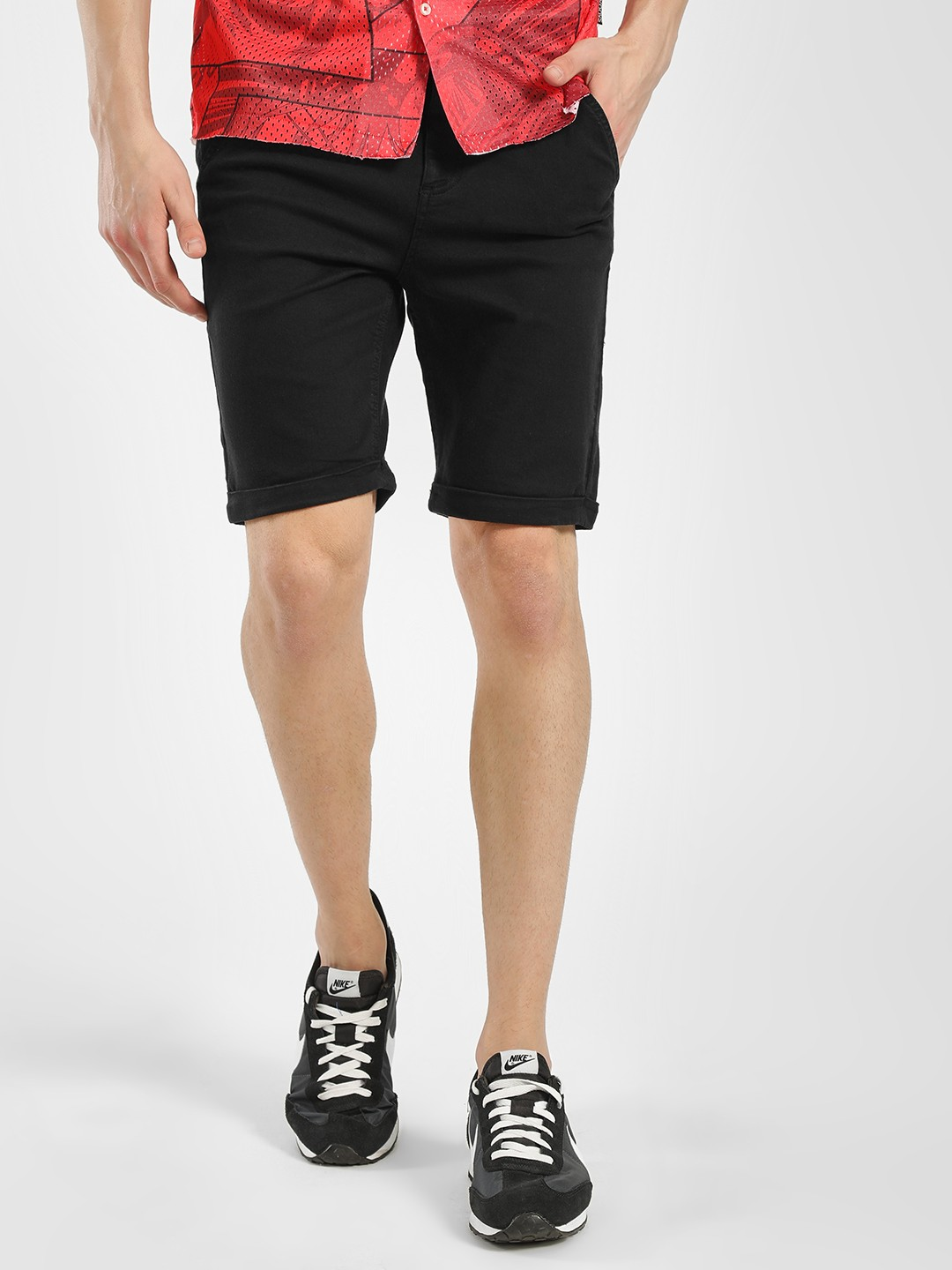 Blue Saint Black Basic Slim Fit Shorts 1