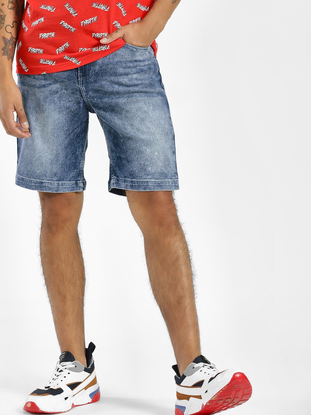 Blue Saint Blue Stonewash Denim Slim Shorts 1