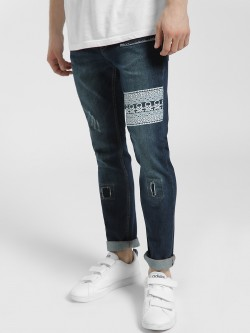 Blue Saint Skull Print Ripped Slim Jeans