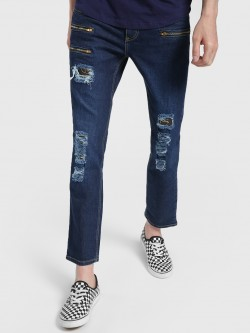 Blue Saint Dark Wash Distressed Patch Slim Jeans