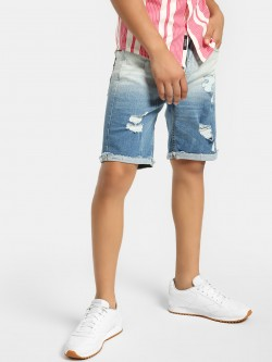 Blue Saint Ombre Distressed Denim Shorts