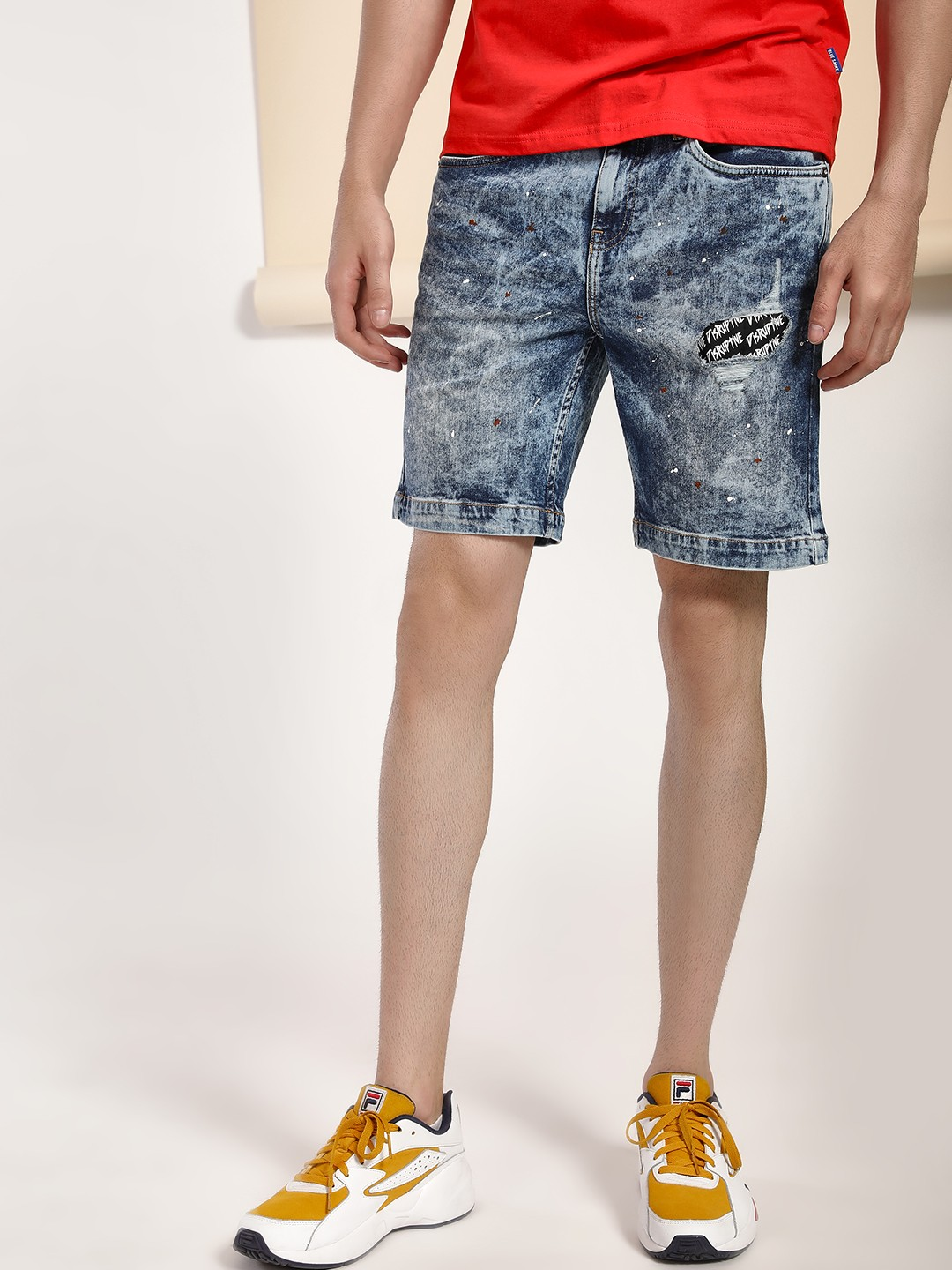 Blue Saint Blue Stonewash Distressed Patch Denim Shorts 1