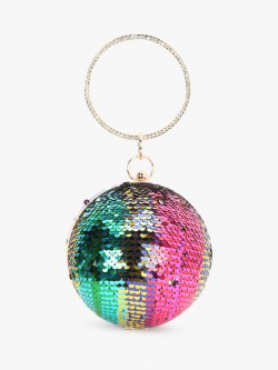 Koko Fashion Sequin Embellished Spherical Handle Clutch