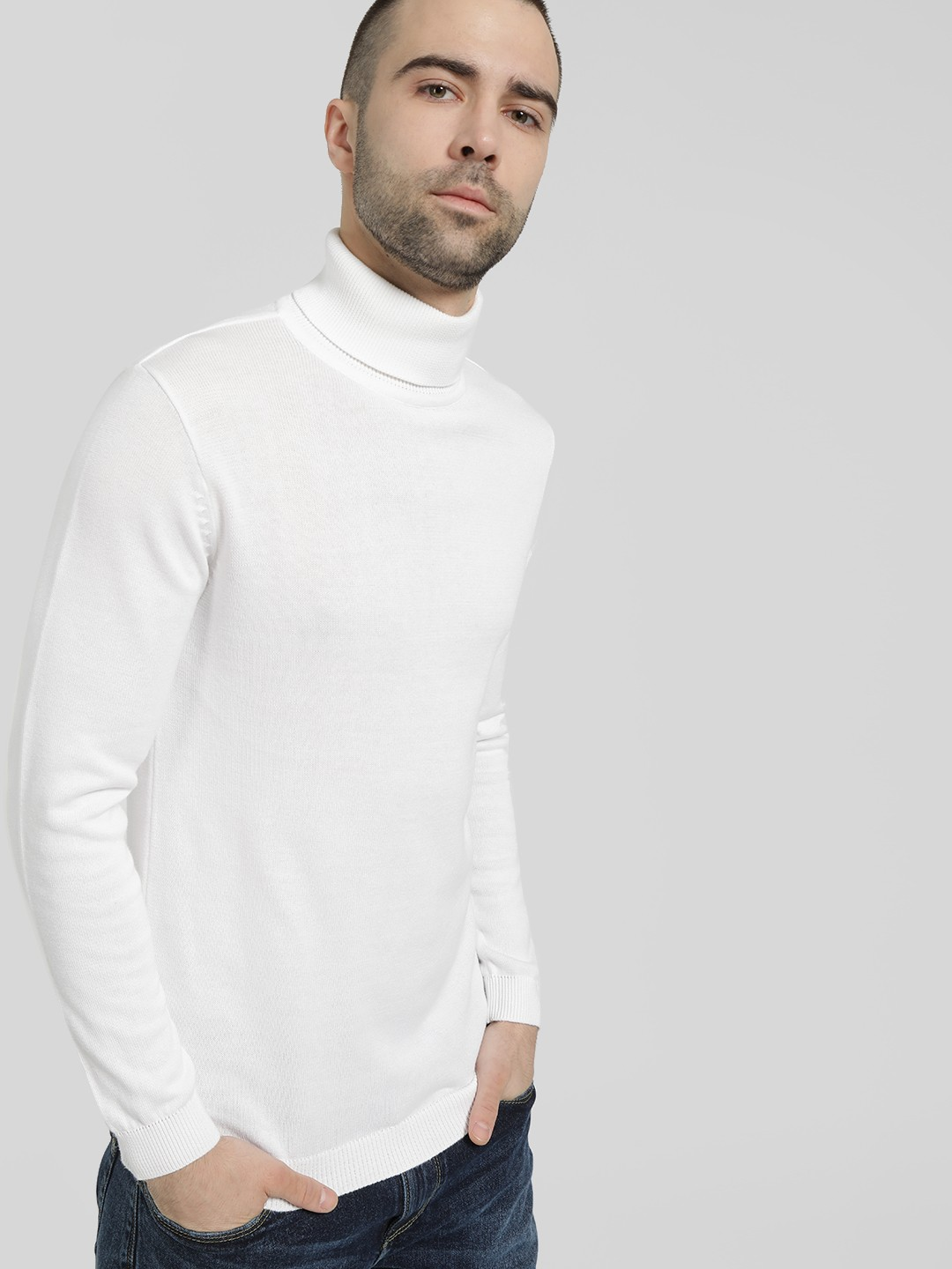 KOOVS White Rolled High Neck Pullover 1