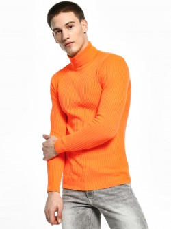 KOOVS Ribbed Turtle Neck Pullover