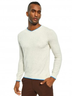Akiva Contrast Tipped V-Neck Pullover