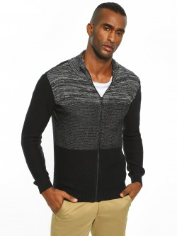 Akiva Colour Block Zip-Up Cardigan