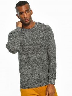 Akiva Shoulder Button Two-Tone Textured Pullover