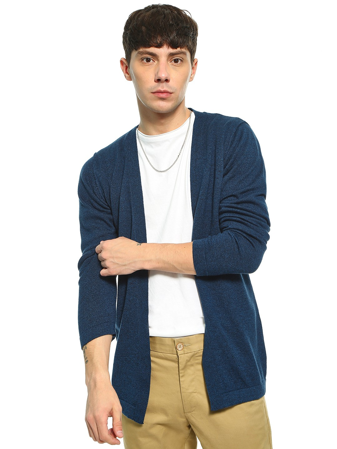 Akiva Blue Front Open Cardigan 1