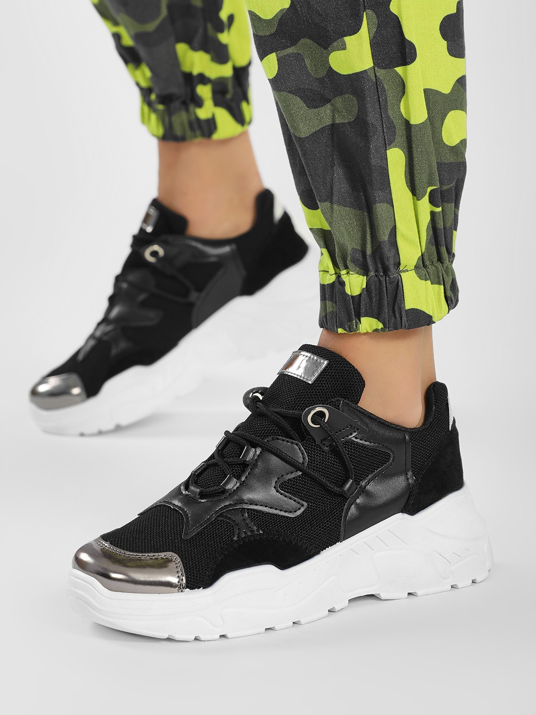 Core Shoes Black Metallic Detail Chunky Sole Trainers 1